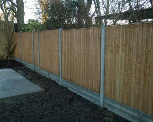 Image shows a recent garden fencing project in Crewkerne by Consolidated Drives