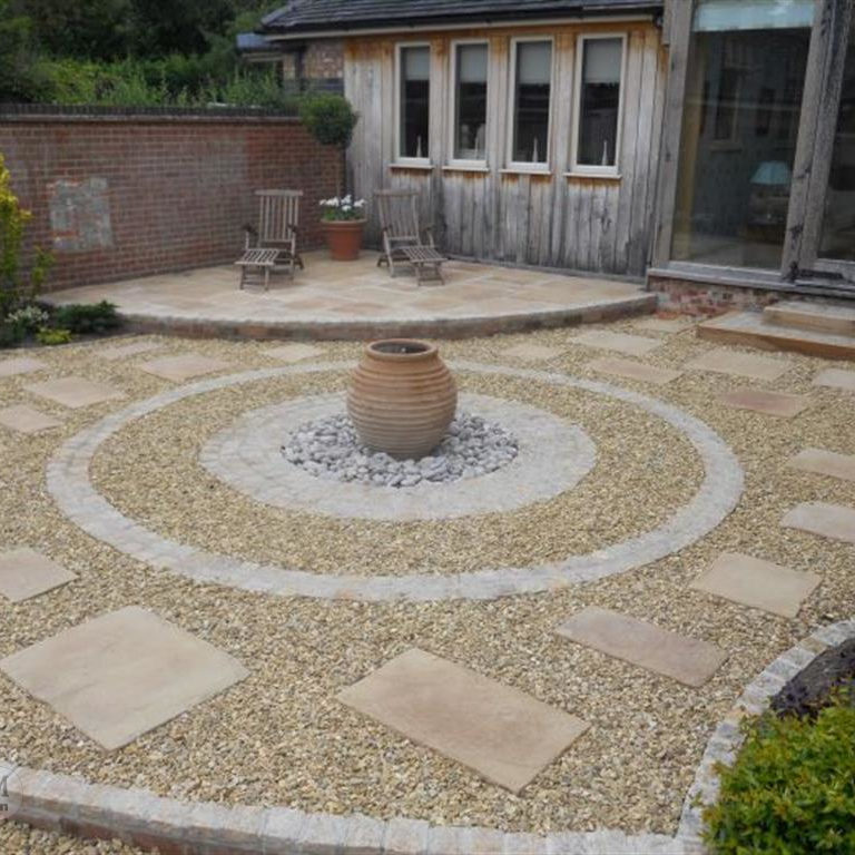 Image shows a recent garden patio project by Consolidated Drives